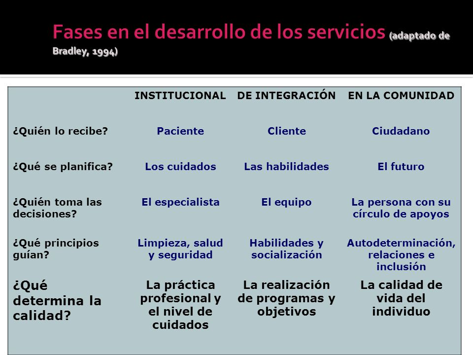 Fases en el desarrollo de los servicios (adaptado de Bradley, 1994)