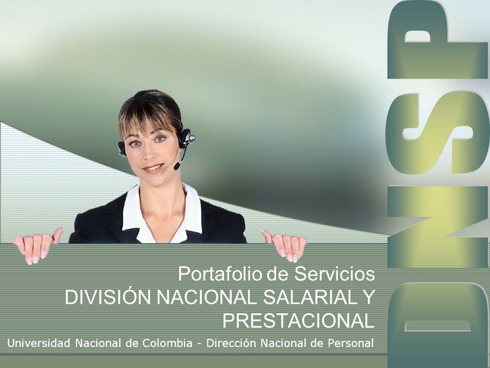 Portafolio de Servicios DIVISIÓN NACIONAL SALARIAL Y PRESTACIONAL