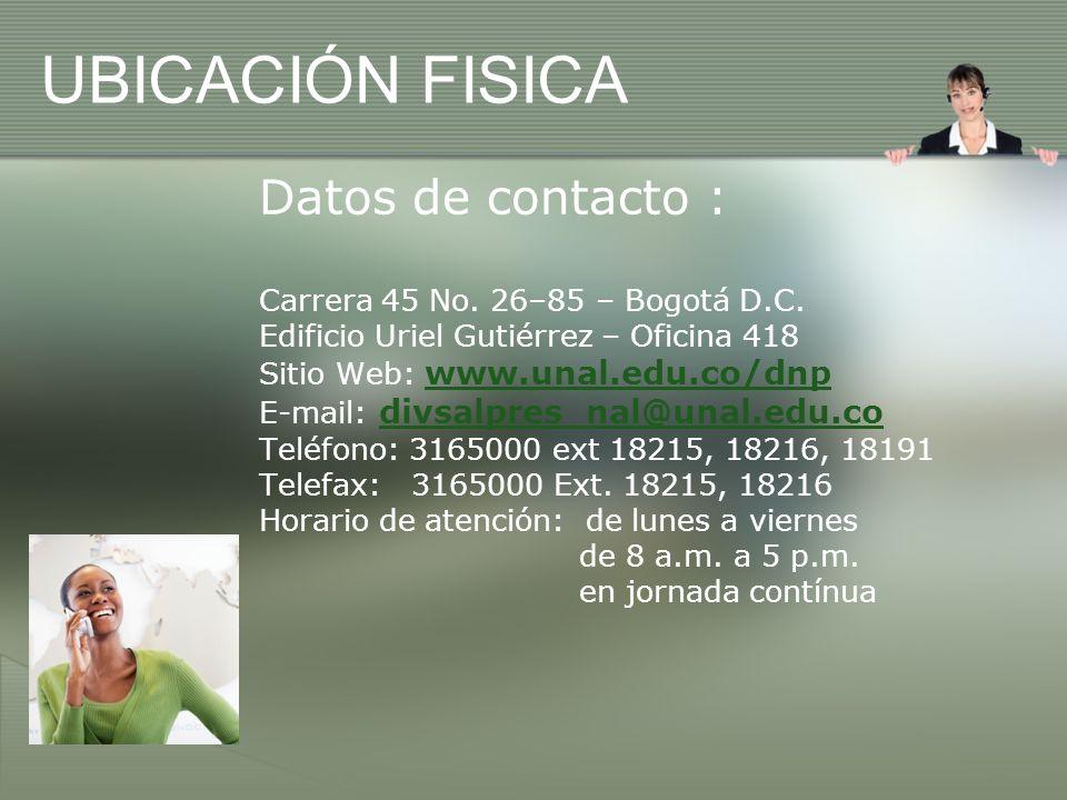 UBICACIÓN FISICA Datos de contacto :