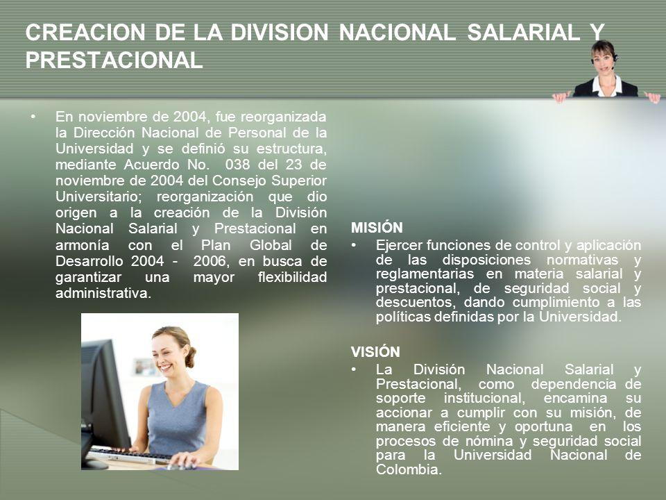 CREACION DE LA DIVISION NACIONAL SALARIAL Y PRESTACIONAL