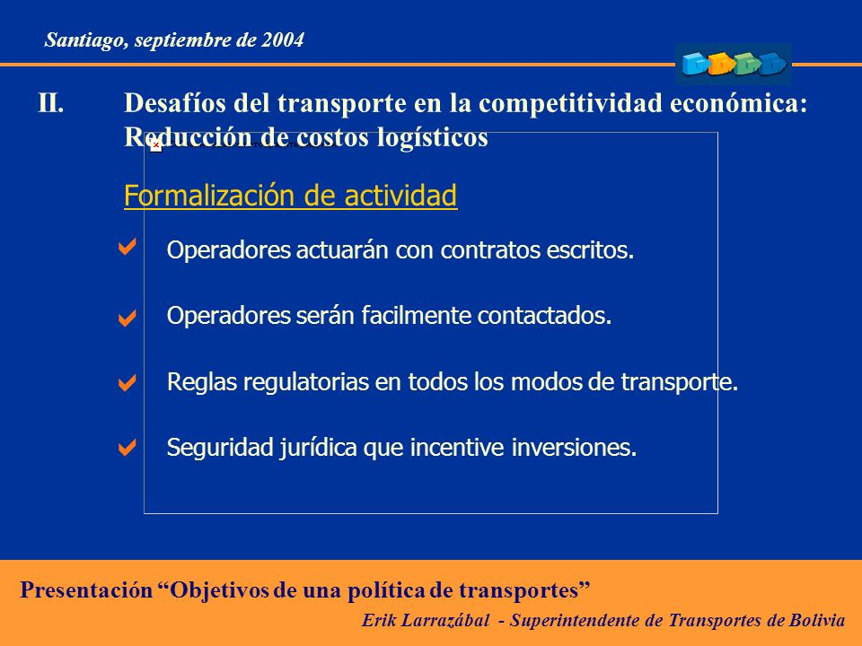 II. Desafíos del transporte en la competitividad económica: