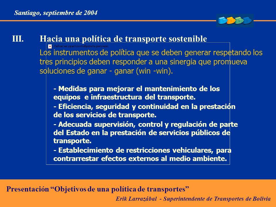 III. Hacia una política de transporte sostenible
