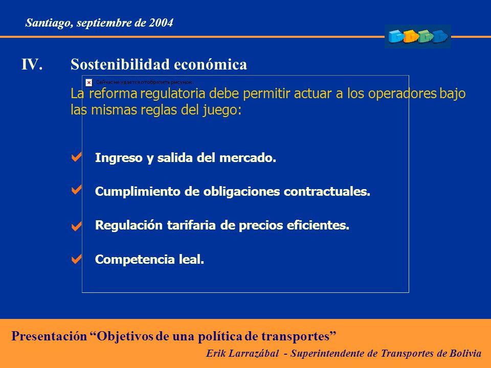 IV. Sostenibilidad económica