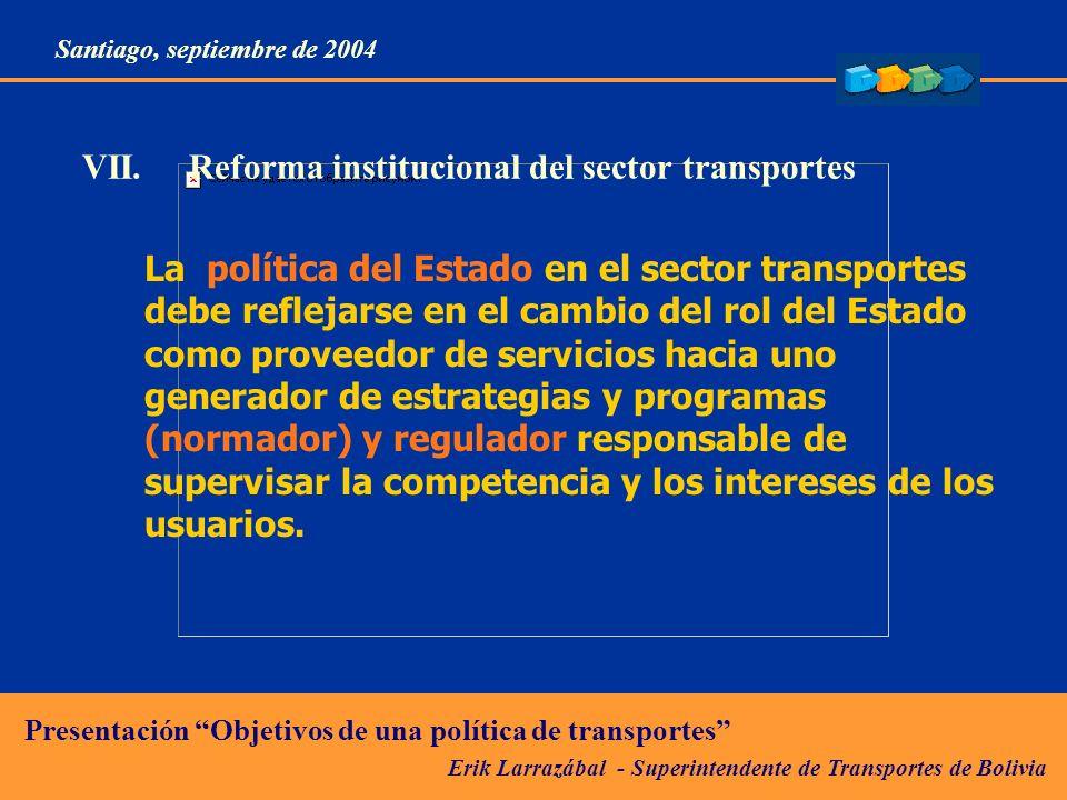 VII. Reforma institucional del sector transportes