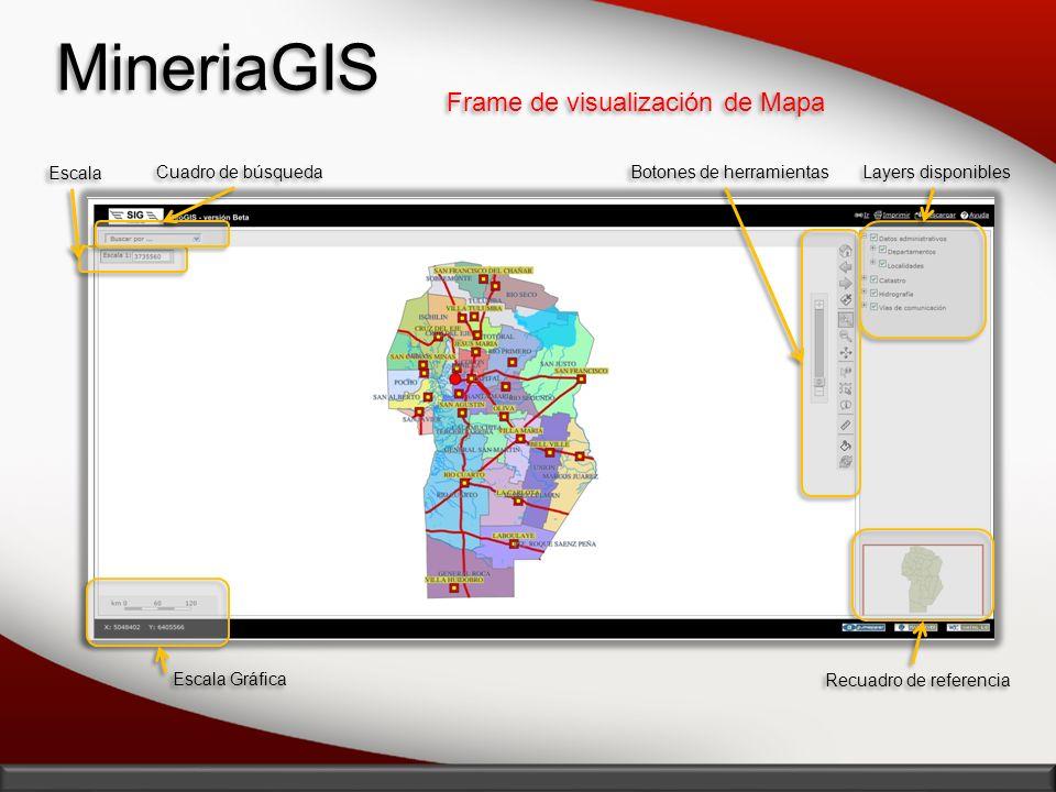 MineriaGIS Frame de visualización de Mapa Escala Cuadro de búsqueda