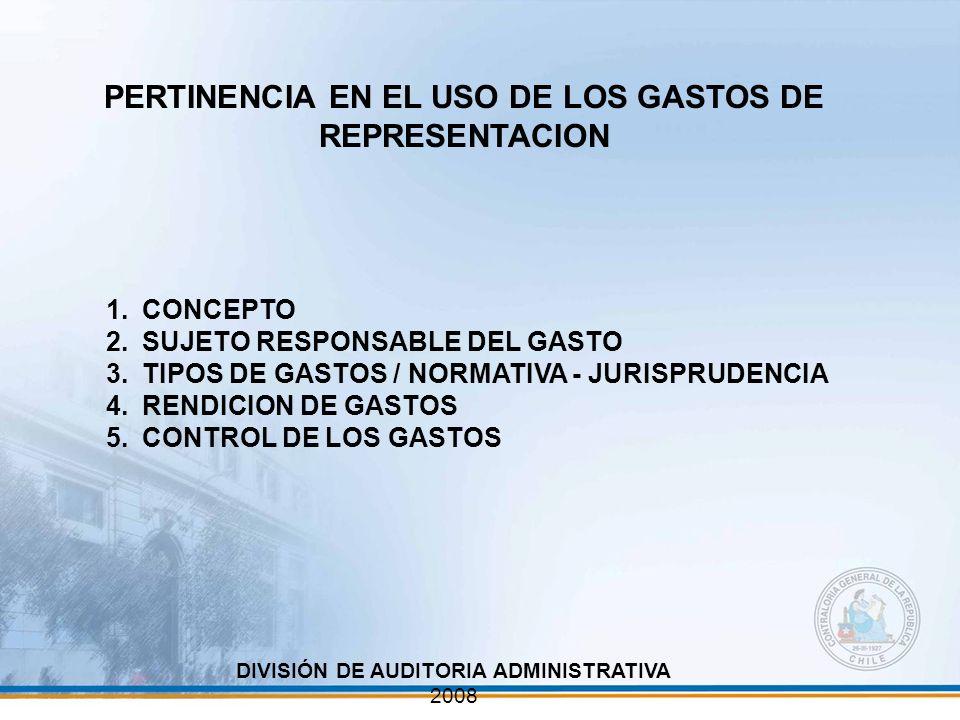 PERTINENCIA EN EL USO DE LOS GASTOS DE REPRESENTACION