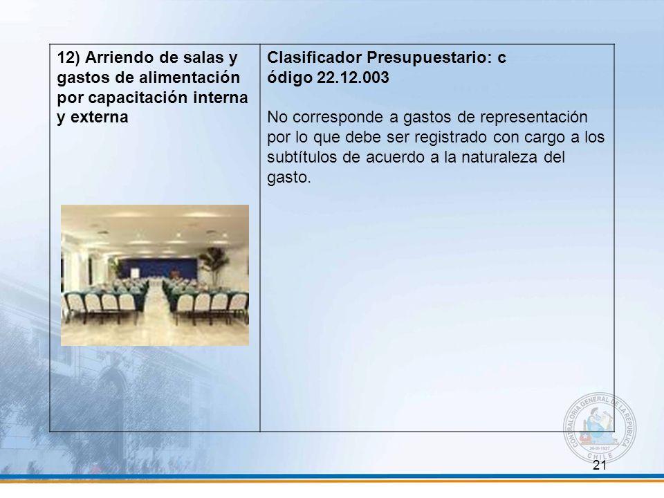 12) Arriendo de salas y gastos de alimentación por capacitación interna y externa