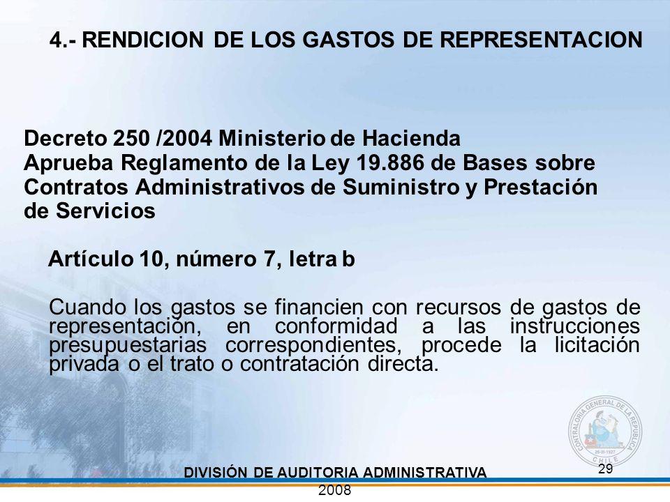 4.- RENDICION DE LOS GASTOS DE REPRESENTACION