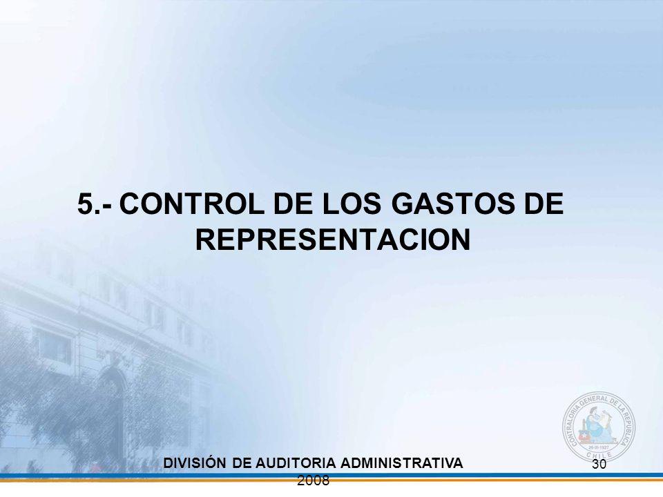 5.- CONTROL DE LOS GASTOS DE REPRESENTACION