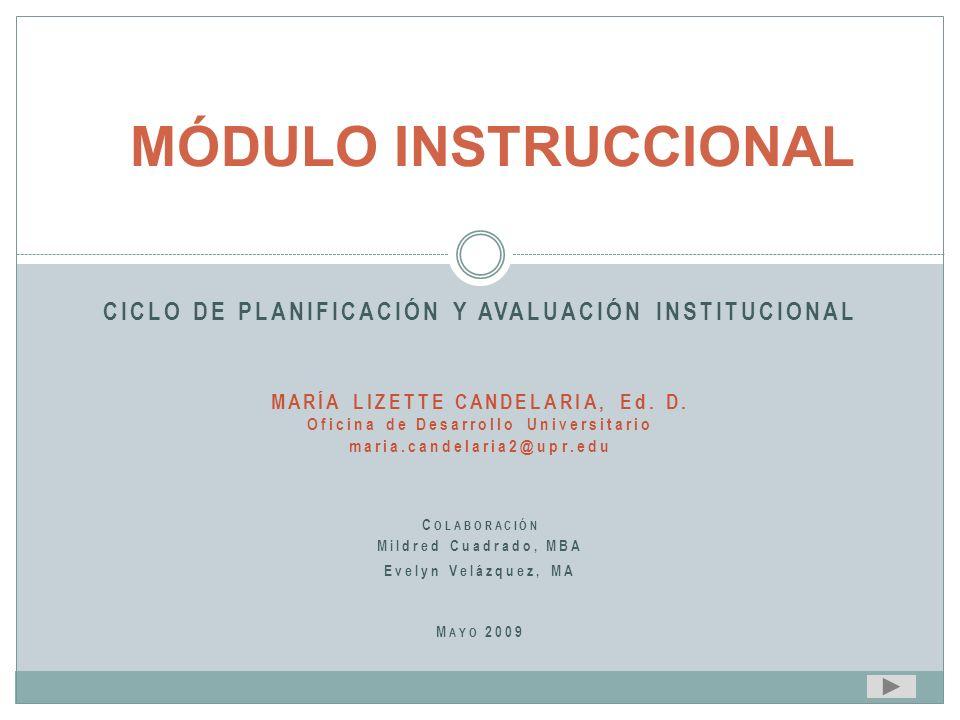 MÓDULO INSTRUCCIONAL CICLO DE PLANIFICACIÓN Y AVALUACIÓN INSTITUCIONAL