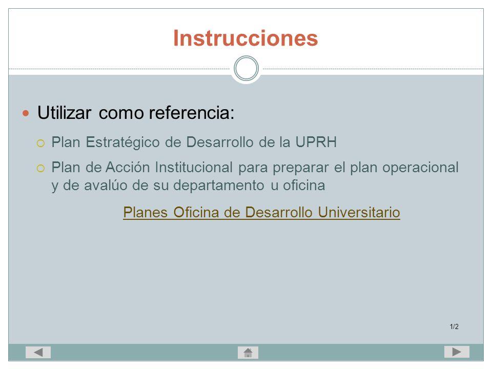 Planes Oficina de Desarrollo Universitario