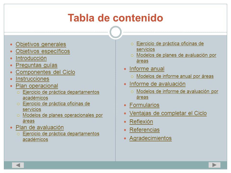 Tabla de contenido Objetivos generales Objetivos específicos