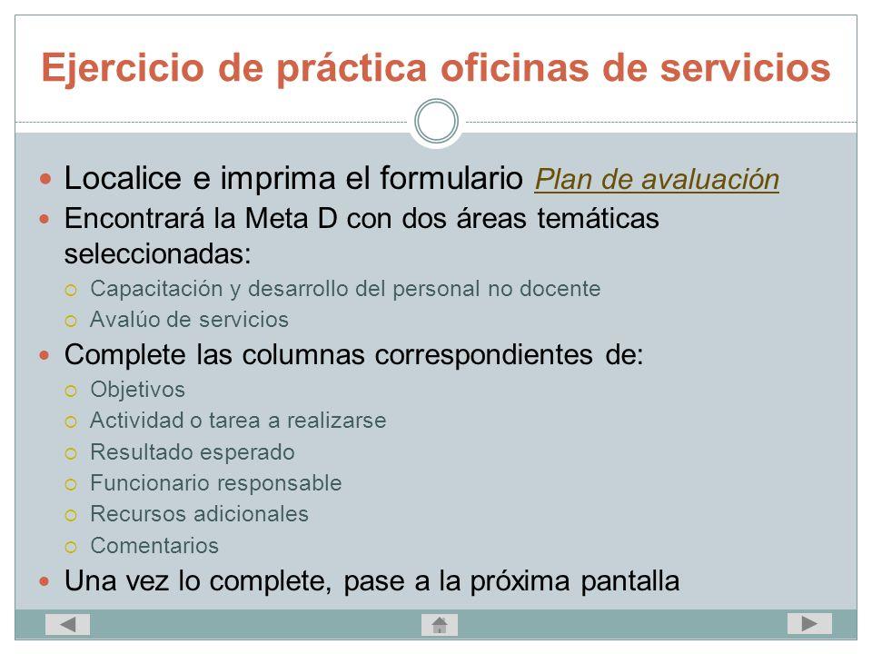 Ejercicio de práctica oficinas de servicios