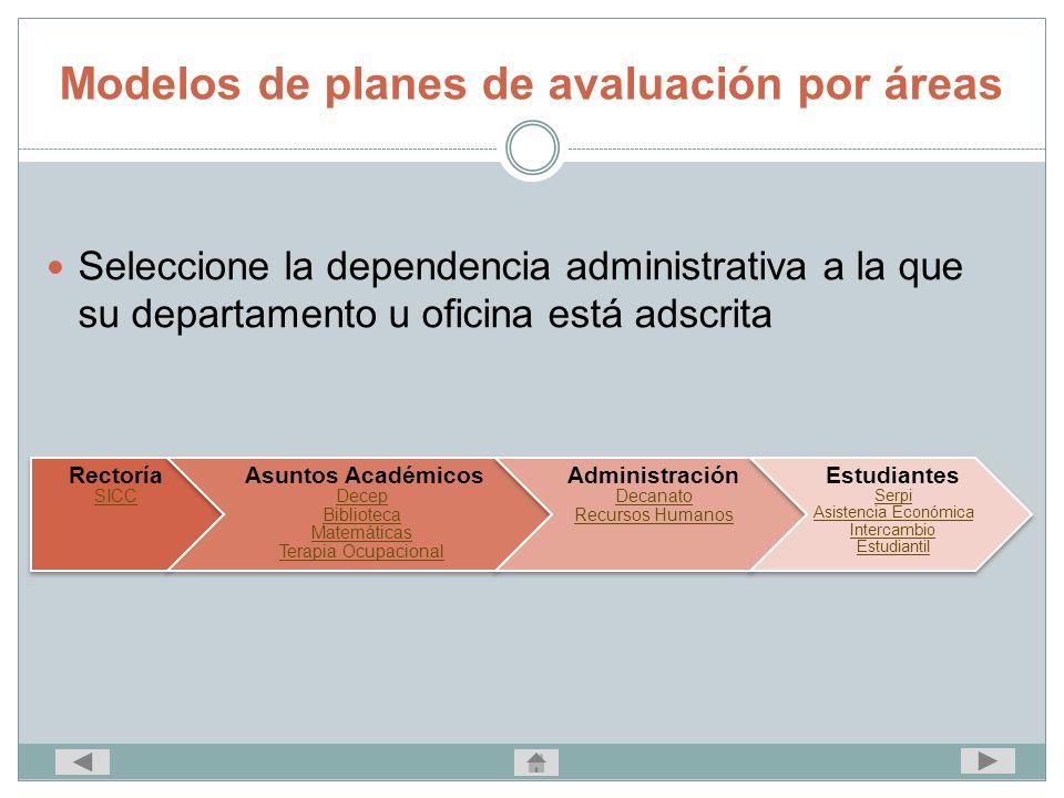 Modelos de planes de avaluación por áreas