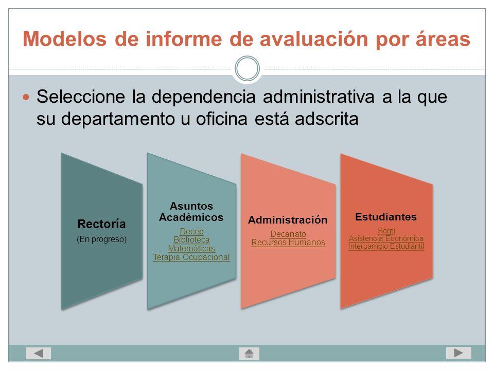 Modelos de informe de avaluación por áreas