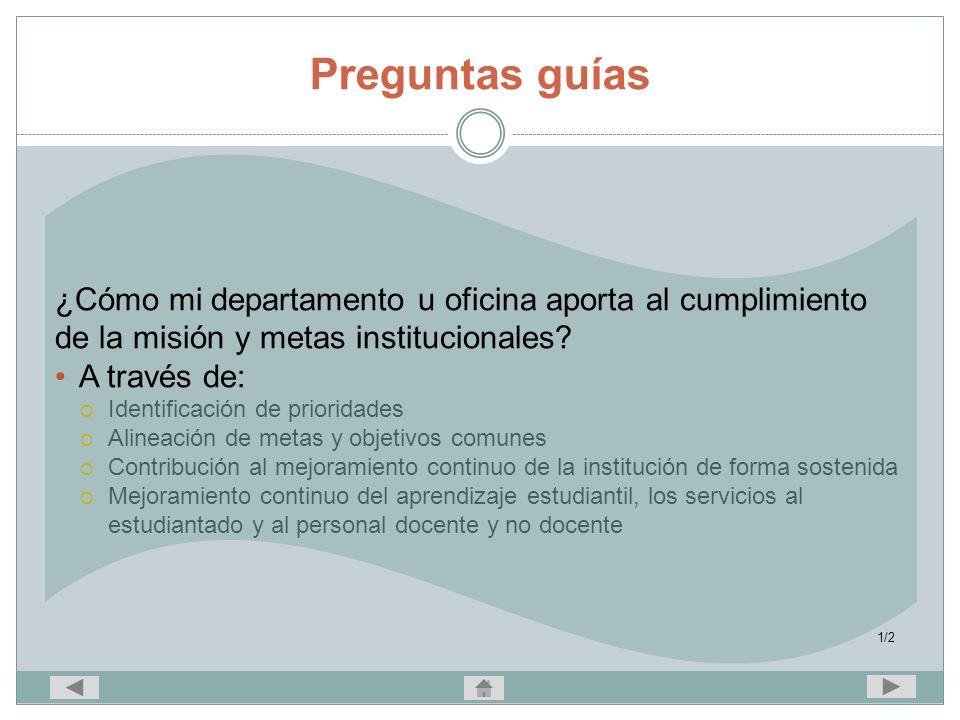 Preguntas guías ¿Cómo mi departamento u oficina aporta al cumplimiento de la misión y metas institucionales
