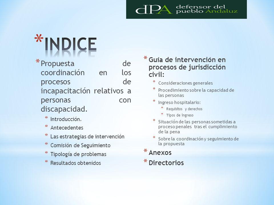 INDICE Guía de intervención en procesos de jurisdicción civil: Consideraciones generales. Procedimiento sobre la capacidad de las personas.