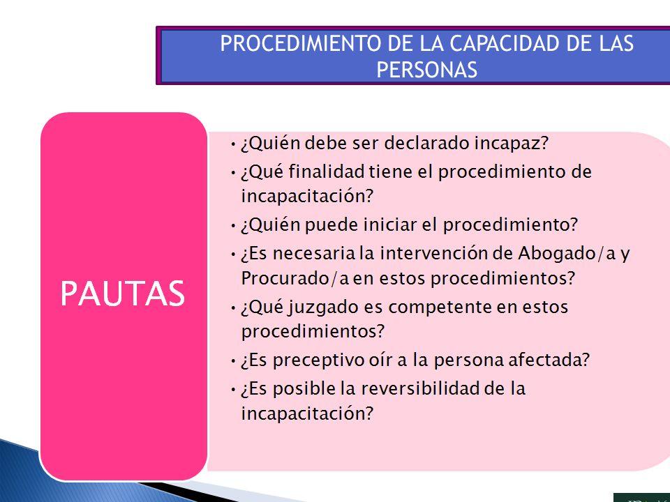 PROCEDIMIENTO DE LA CAPACIDAD DE LAS PERSONAS