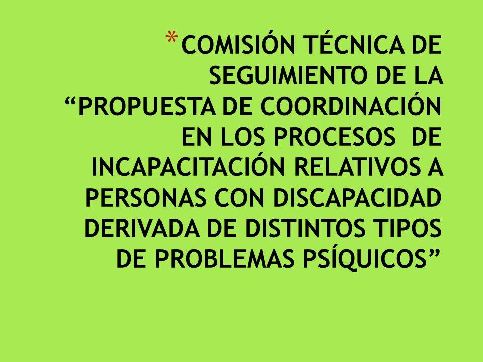COMISIÓN TÉCNICA DE SEGUIMIENTO DE LA PROPUESTA DE COORDINACIÓN EN LOS PROCESOS DE INCAPACITACIÓN RELATIVOS A PERSONAS CON DISCAPACIDAD DERIVADA DE DISTINTOS TIPOS DE PROBLEMAS PSÍQUICOS