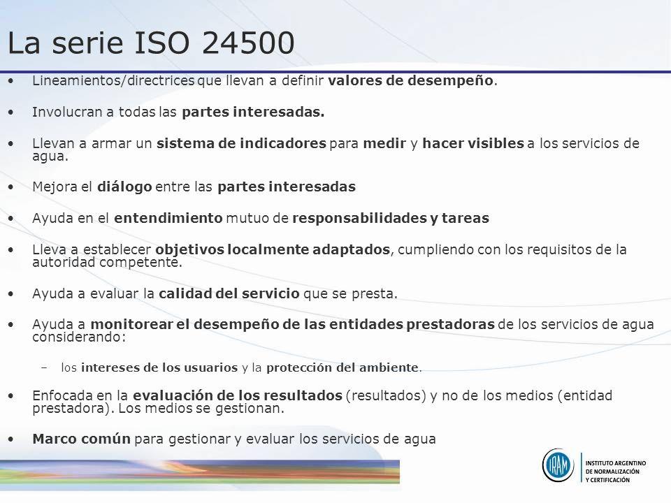 La serie ISO 24500 Lineamientos/directrices que llevan a definir valores de desempeño. Involucran a todas las partes interesadas.