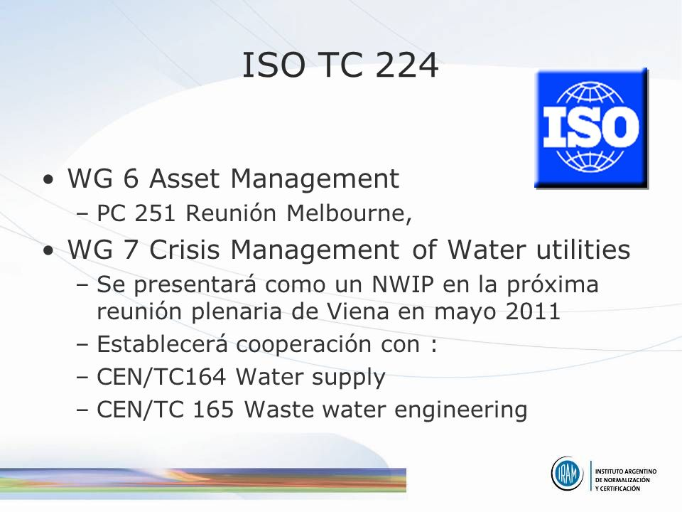 ISO TC 224 WG 6 Asset Management