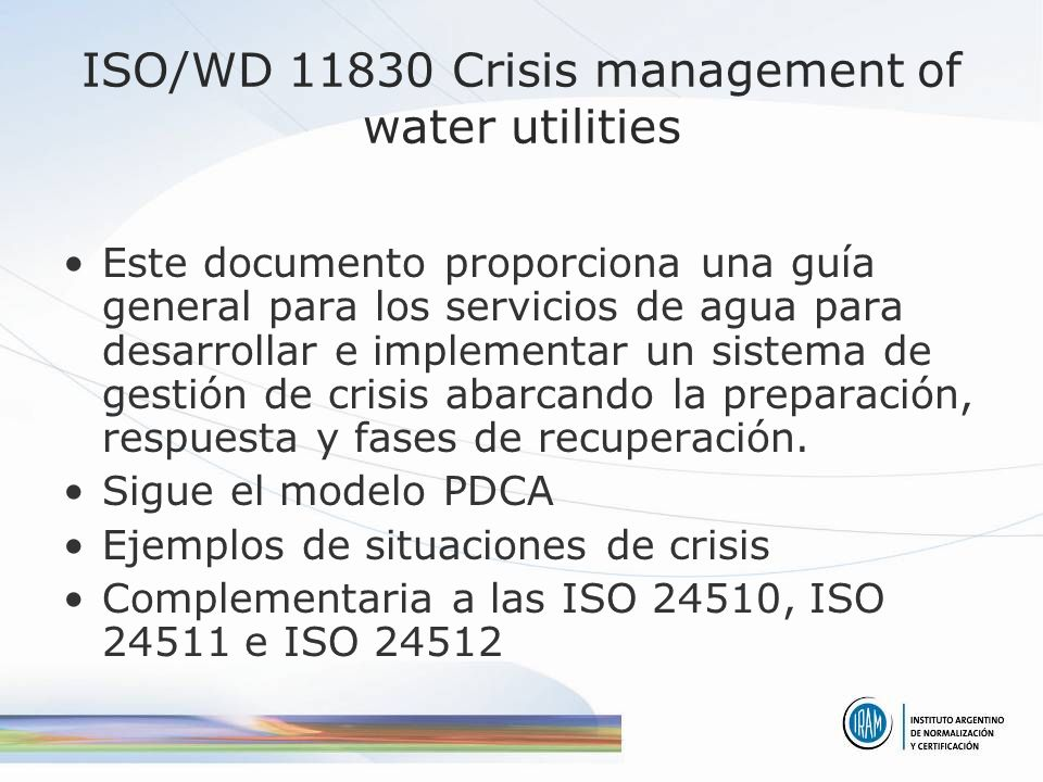 ISO/WD 11830 Crisis management of water utilities