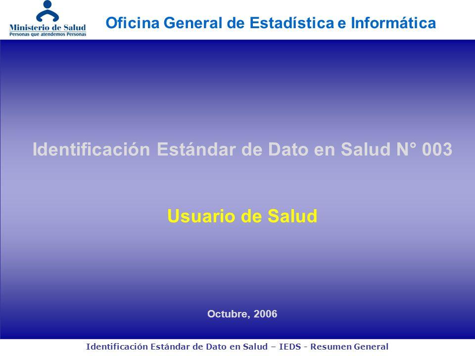 Identificación Estándar de Dato en Salud N° 003 Usuario de Salud