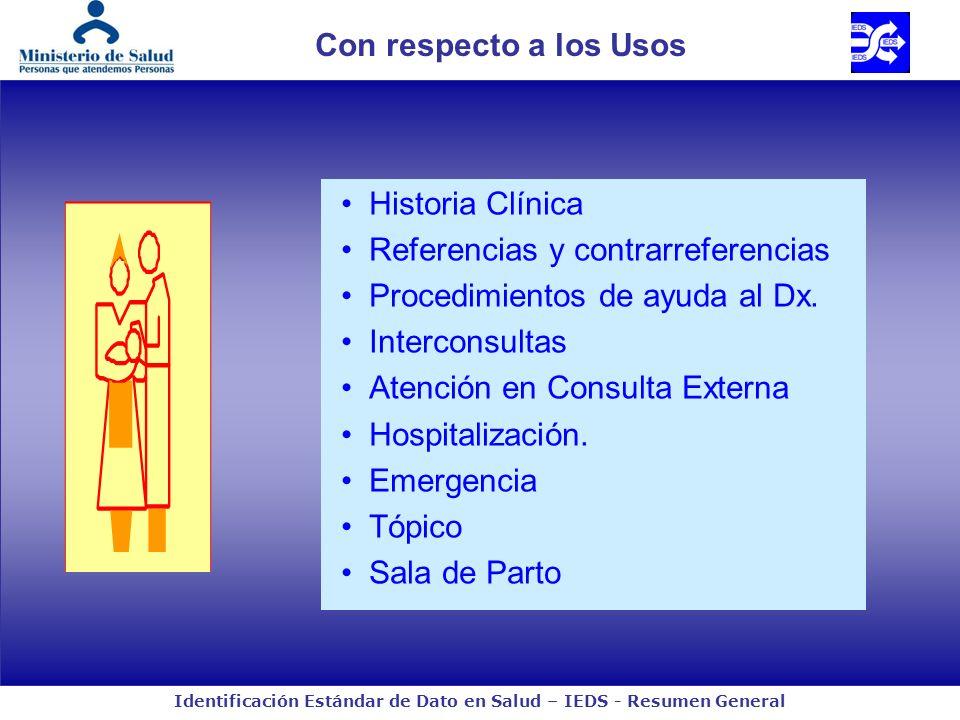 Con respecto a los Usos Historia Clínica. Referencias y contrarreferencias. Procedimientos de ayuda al Dx.