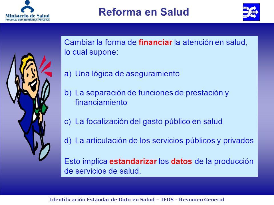 Reforma en Salud Cambiar la forma de financiar la atención en salud, lo cual supone: Una lógica de aseguramiento.