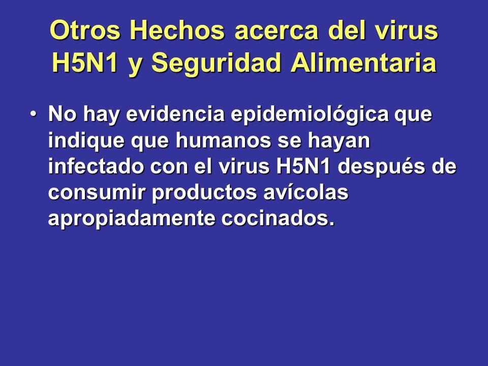 Otros Hechos acerca del virus H5N1 y Seguridad Alimentaria