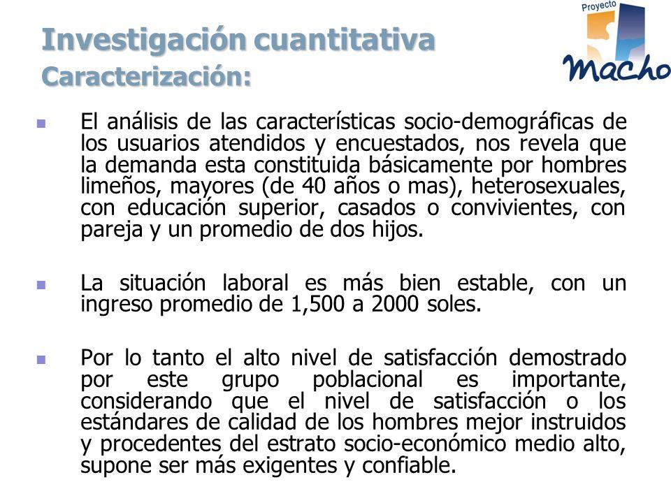 Investigación cuantitativa Caracterización: