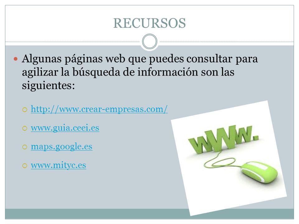 RECURSOS Algunas páginas web que puedes consultar para agilizar la búsqueda de información son las siguientes: