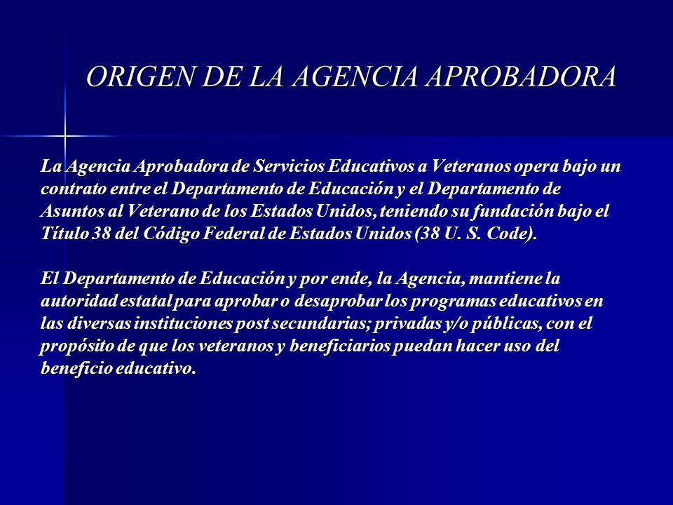 ORIGEN DE LA AGENCIA APROBADORA