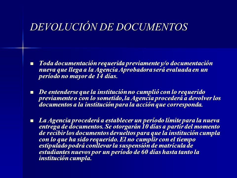 DEVOLUCIÓN DE DOCUMENTOS