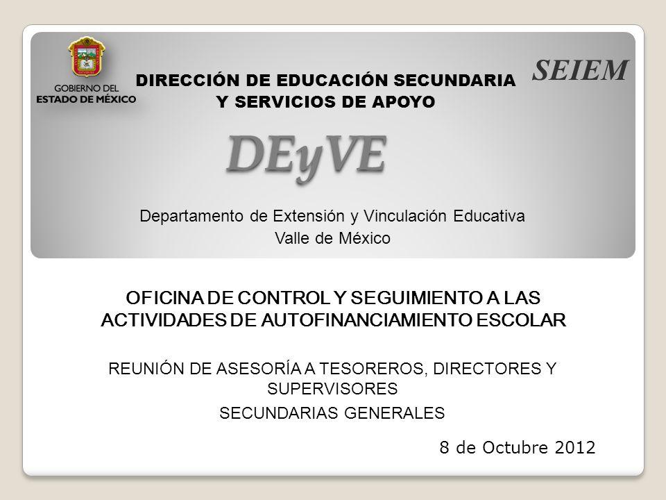 SEIEM DIRECCIÓN DE EDUCACIÓN SECUNDARIA. Y SERVICIOS DE APOYO. DEyVE. Departamento de Extensión y Vinculación Educativa.