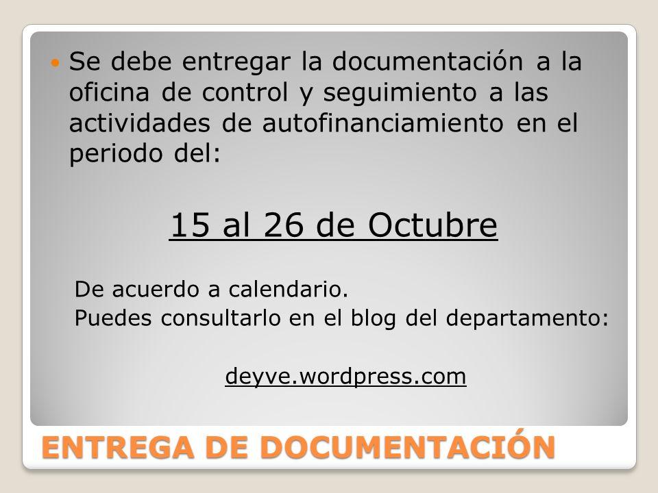ENTREGA DE DOCUMENTACIÓN