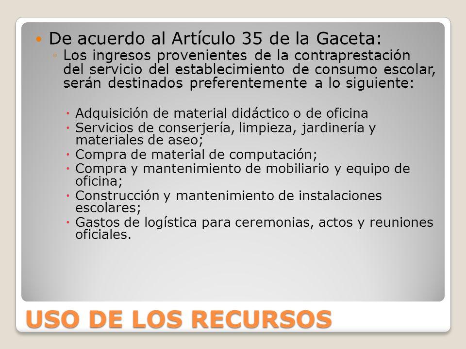 USO DE LOS RECURSOS De acuerdo al Artículo 35 de la Gaceta: