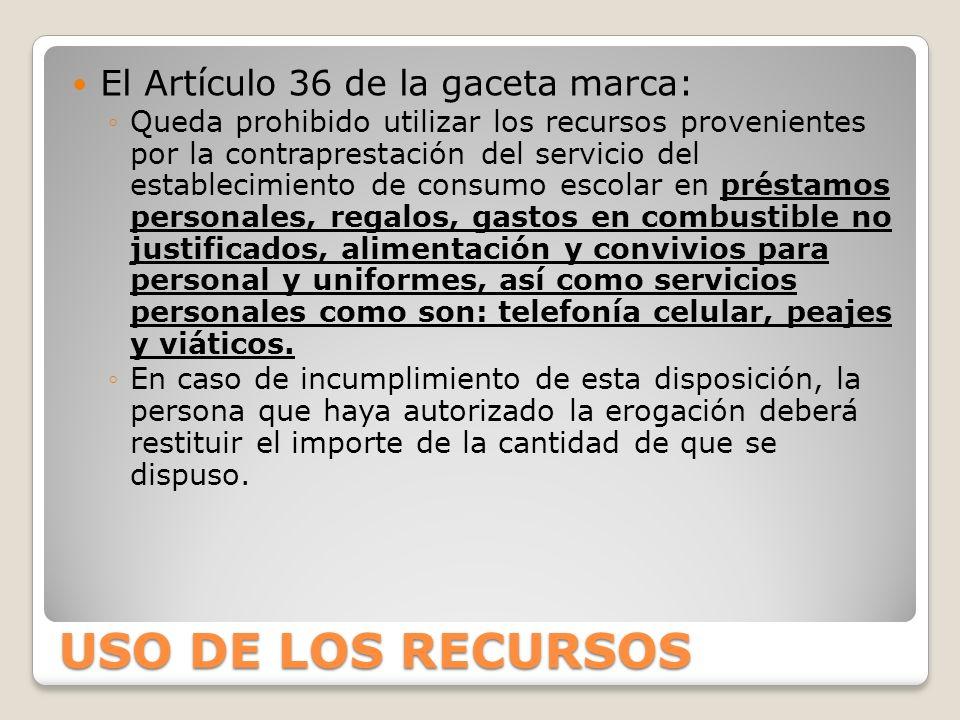 USO DE LOS RECURSOS El Artículo 36 de la gaceta marca: