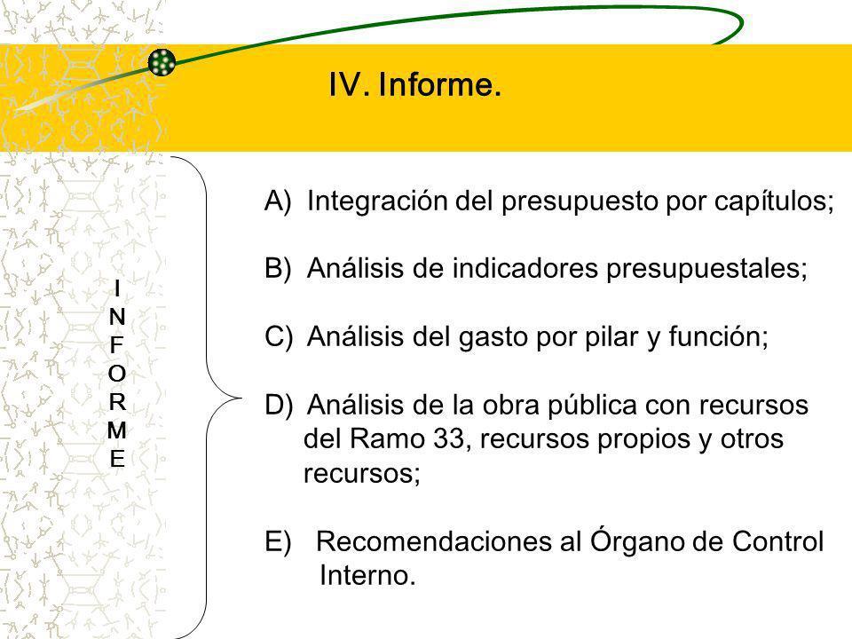 IV. Informe. Integración del presupuesto por capítulos;