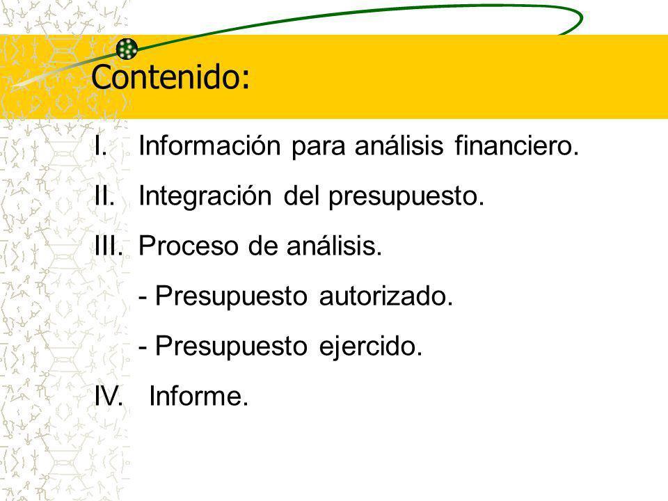 Contenido: Información para análisis financiero.