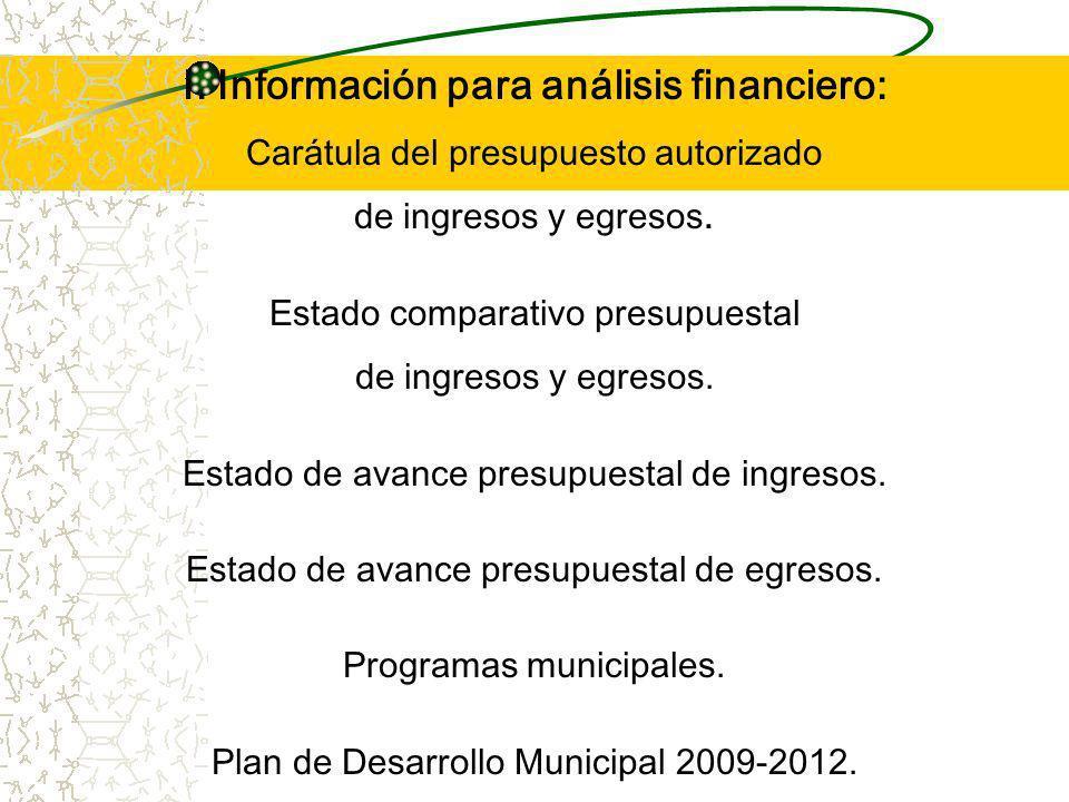 I. Información para análisis financiero:
