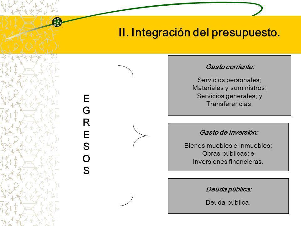 II. Integración del presupuesto.