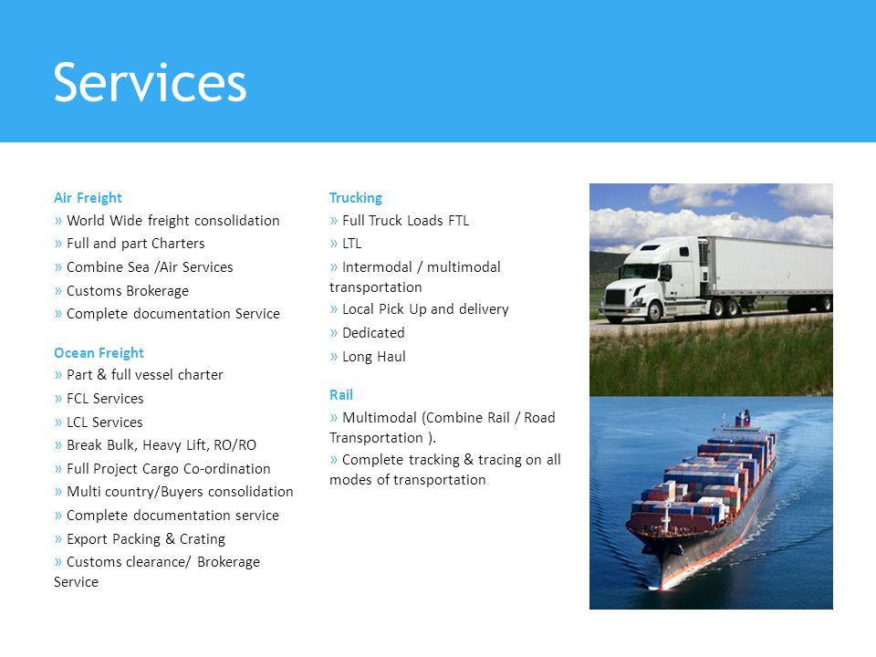 Services » World Wide freight consolidation » Full and part Charters
