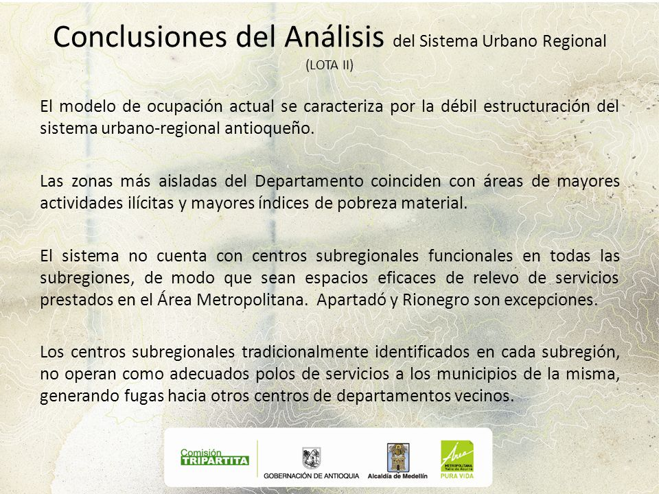 Conclusiones del Análisis del Sistema Urbano Regional (LOTA II)