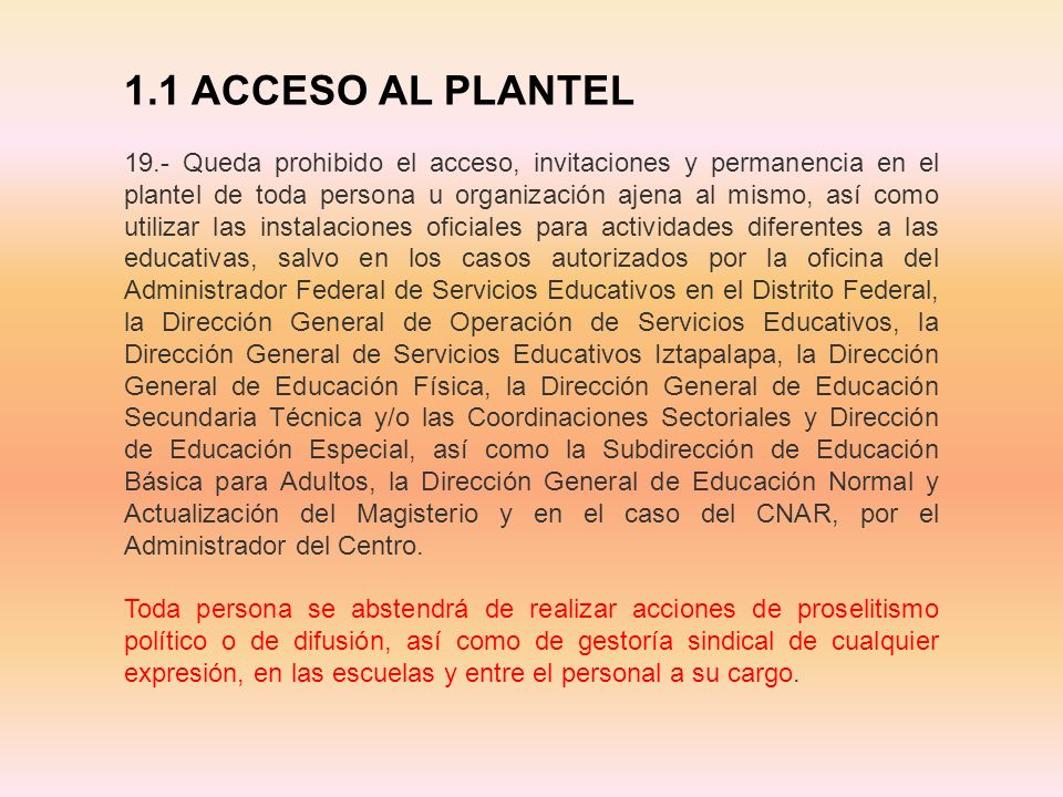 1.1 ACCESO AL PLANTEL