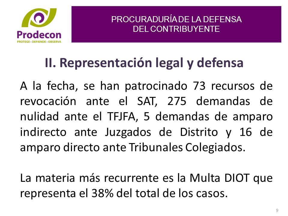 II. Representación legal y defensa