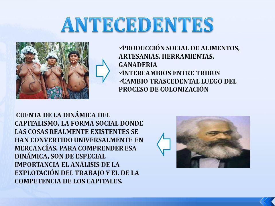 ANTECEDENTES PRODUCCIÓN SOCIAL DE ALIMENTOS, ARTESANIAS, HERRAMIENTAS, GANADERIA. INTERCAMBIOS ENTRE TRIBUS.
