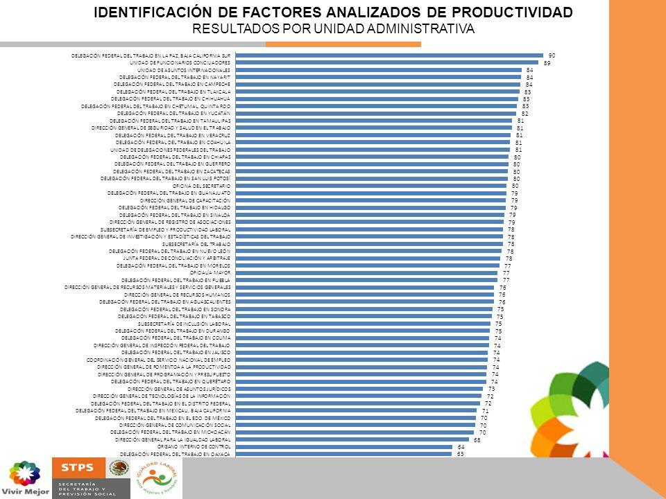 IDENTIFICACIÓN DE FACTORES ANALIZADOS DE PRODUCTIVIDAD