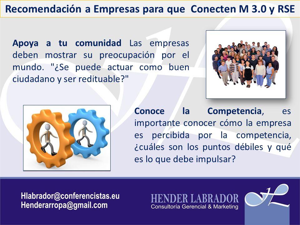 Recomendación a Empresas para que Conecten M 3.0 y RSE