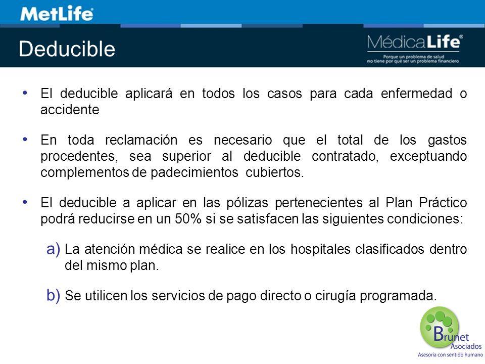 Deducible El deducible aplicará en todos los casos para cada enfermedad o accidente.